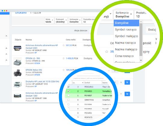 Platforma B2B - kolejność towarów nalistach
