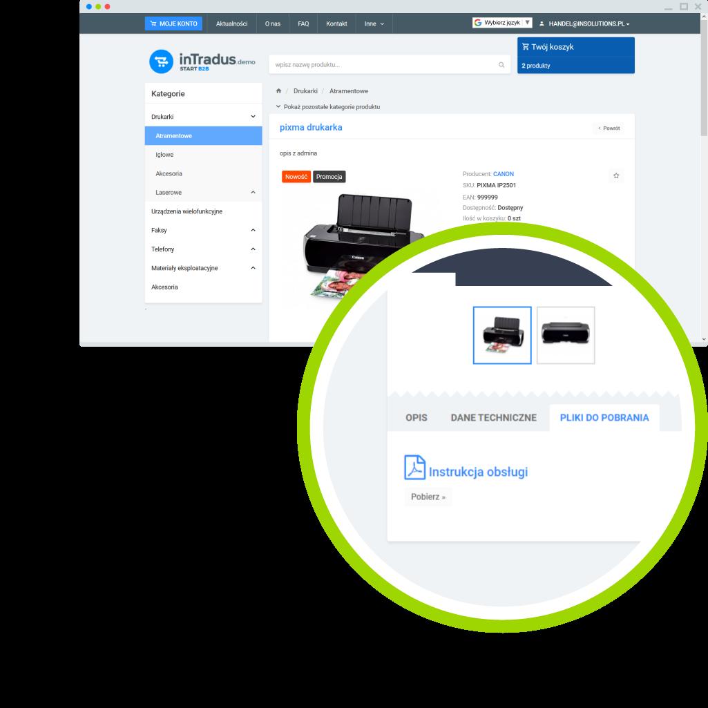 Możliwości platformy B2B - dodawanie plików do produktów