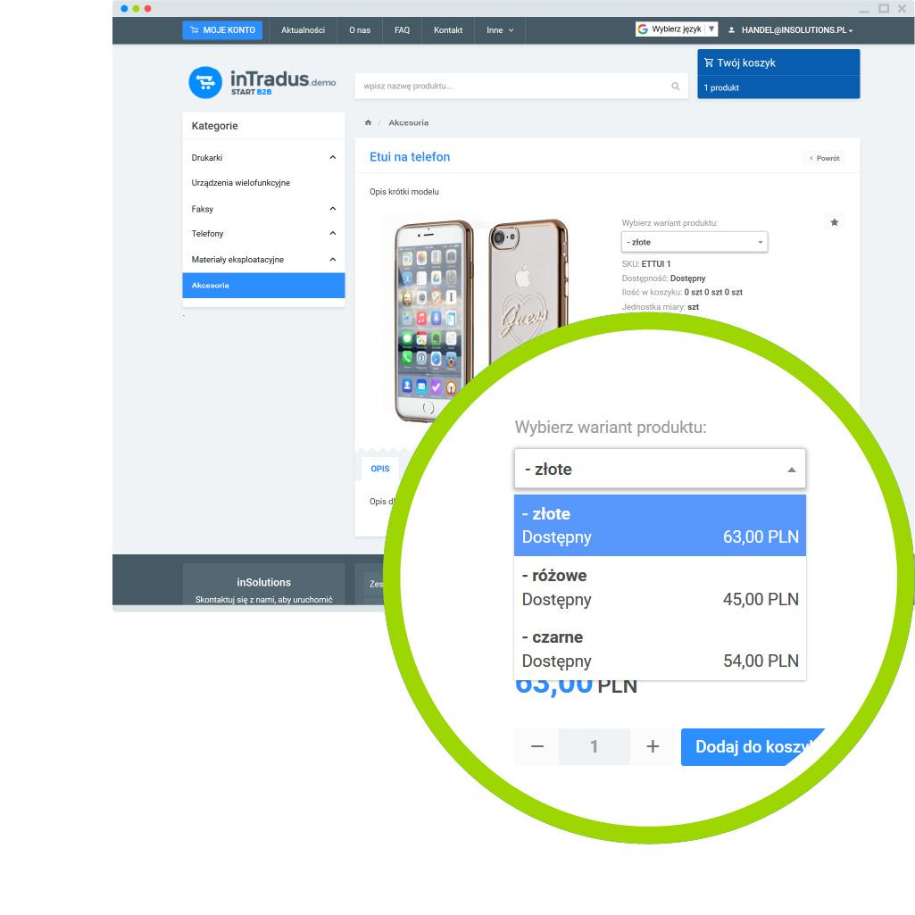 Możliwości platformy B2B - karta produktów